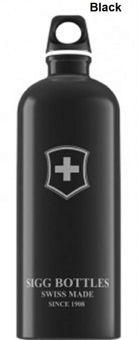 Sigg Swiss Emblem Water Bottle - 1 Litre, Black/Red